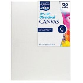 "ArtSkills 12"" x 16"" Stretched Canvas, 6 Pack"