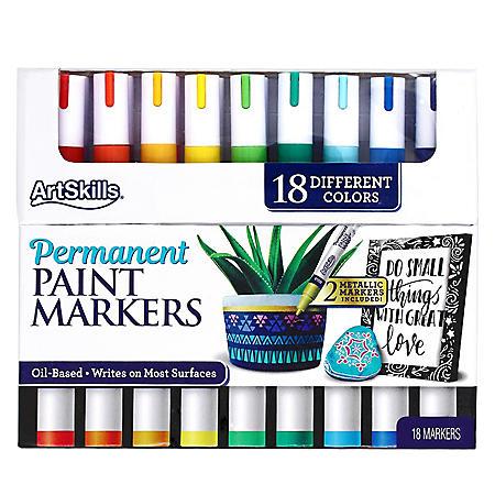 ArtSkills Permanent Paint Markers Art Set, 18 Colors