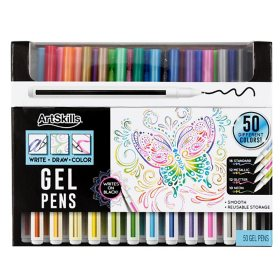 ArtSkills Fine Point Gel Pens Assorted Art Set, 50 Count