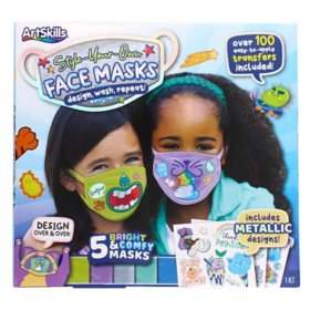 ArtSkills Style Your Own Face Mask Kit with 5 Cloth Masks