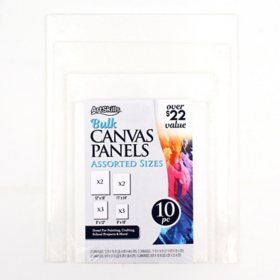 ArtSkills White Blank Canvas Panel Boards, 4 Sizes,10 Pieces