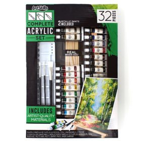 ArtSkills Complete Acrylic Paints Art Set with Easel, 32 Pcs