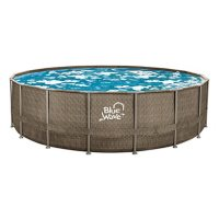 """Blue Wave 24' Round 52"""" Deep Dark Cocoa Wicker Frame Swimming Pool Package with Cover"""