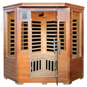 Hemlock Corner Infrared Sauna with 7 Carbon Heaters: 3 Person Capacity (SA3212)