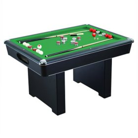 "Renegade 54"" Slate Bumper Pool Table with Green Felt, 48"" Cues, Balls, Brush and Chalk"