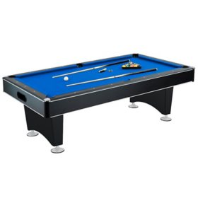 Hustler 7' Pool Table with Blue Felt, Internal Ball Return System, Pool Cues and Chalk