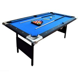 Fairmont Portable 6' Pool Table with Easy Folding for Storage, Includes Balls, Cues, Chalk