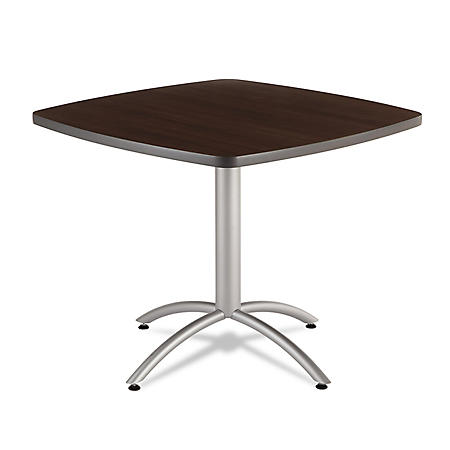"Iceberg CaféWorks 36"" Square Table, Walnut/Silver"
