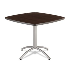 "Iceberg CaféWorks 36"" Square Table, Walnut/Silver"