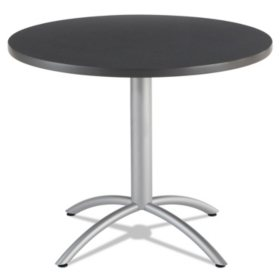 "Iceberg CaféWorks 36"" Round Table, Graphite Granite/Silver"