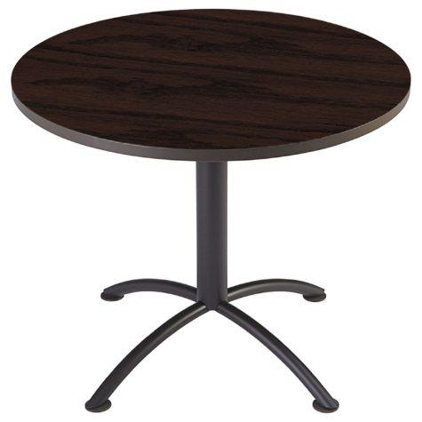 """Iceberg iLand 36"""" Contour Round Seated Style Table, Mahogany/Black"""