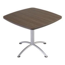 "Iceberg iLand 36"" Contour Square Seated Style Table, Natural Teak/Silver"