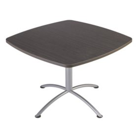 "Iceberg iLand 42"" Contour Square Seated Style Table, Gray Walnut/Silver"