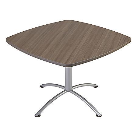 "Iceberg iLand 42"" Contour Square Seated Style Table, Mahogany/Silver"