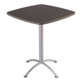 """Iceberg iLand 36"""" Contour Square Bistro Style Table, Gray Walnut/Silver"""