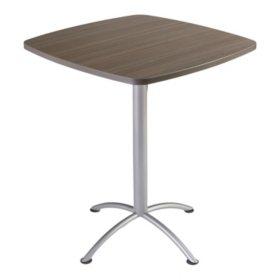 """Iceberg iLand 36"""" Contour Square Bistro Style Table, Mahogany/Silver"""
