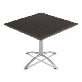 """Iceberg iLand 36"""" Square Bistro Style Table, Gray Walnut/Silver"""