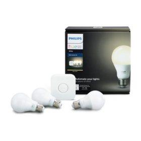 Philips Hue 3-Pack White Smart Bulb Starter Kit with Dimmer Switch