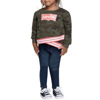 Levi's Toddler Girls' Fashion Crew and Jeans 2 Piece Set