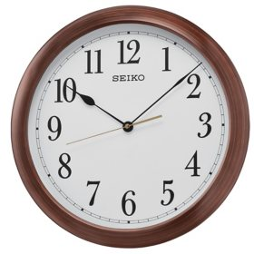"Seiko 16"" Arabic Numbered Wooden Finish Wall Clock"