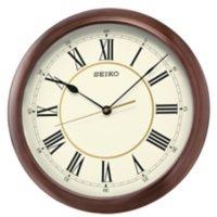 "Seiko 16"" Roman Numeral Round Wooden Finish Wall Clock"