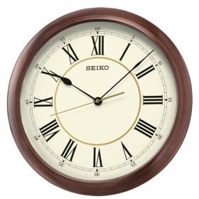 "Seiko 16"" Roman Numeral Round Wooden Finish Wall Clock"