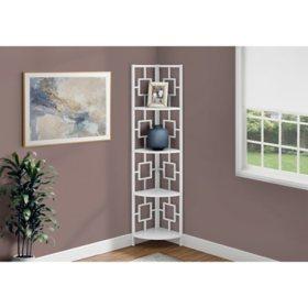 "Bookcase - 62""H Metal Corner Etagere, Assorted Colors"