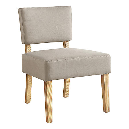 Accent Chair - Taupe Fabric/Natural Wood Legs