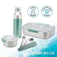 Eco Bento Kit and Water Bottle, 7 Piece (Assorted Colors)