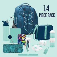 Bungee Backpack School and Lunch Set, 14 Piece (Assorted Colors)