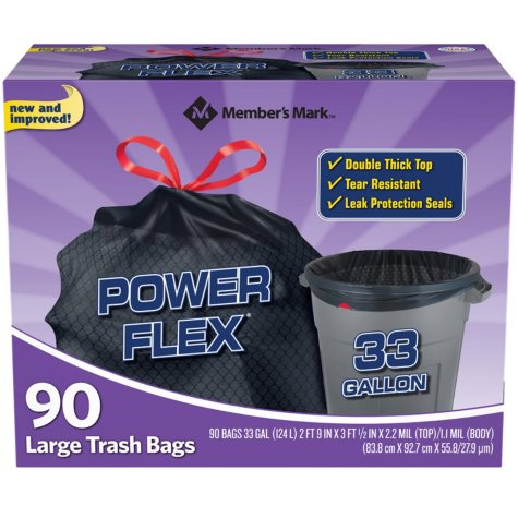 Member's Mark 33-Gallon Power-Guard Drawstring Trash Bags (90 ct.)