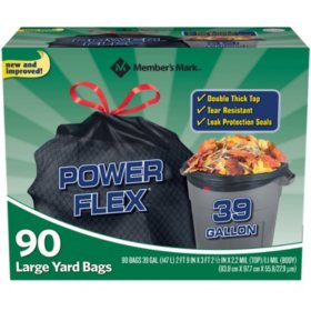 Member's Mark 39 Gallon Power-Guard Drawstring Yard Trash Bags (90 ct.)