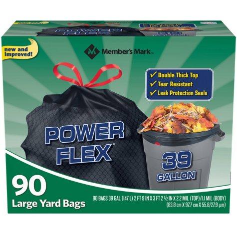 Member's Mark 39 Gallon Power-Guard Drawstring Yard Bags (90 ct.)