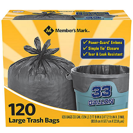 Member's Mark 33 gal. Power-Guard Simple Tie Trash Bags (2 rolls of 60 ct., total 120 ct.)