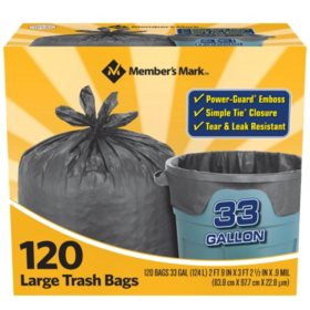 Member's Mark 33 gal. Power-Guard Simple Tie Trash Bags (2 rolls of 60 ct., total 120 ct.)