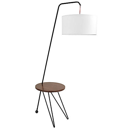 Stork Mid-Century Modern Floor Lamp with Walnut Wood Table Accent and White Shade