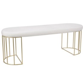 Canary Contemporary-Glam Dining/Entryway Bench in Gold and White Mohair