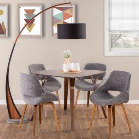 6-Piece Mid-Century Modern Dining Set in Walnut and Grey