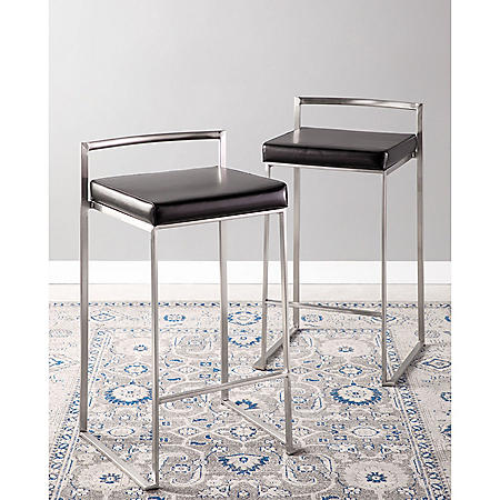 Fuji Stackable Contemporary Counter Stool - Set of 2, Black