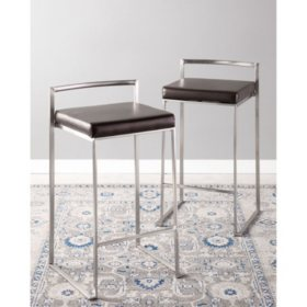 Fuji Stackable Contemporary Counter Stool - Set Of 2, Brown