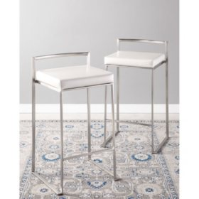 Fuji Stackable Contemporary Counter Stool - Set Of 2, White