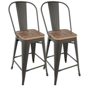 Wondrous Oregon Industrial High Back Counter Stool Set Of 2 Gray Gamerscity Chair Design For Home Gamerscityorg