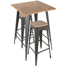 Oregon Industrial Pub Set, Gray Frame with Medium Brown Wood