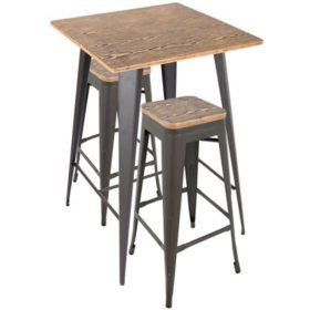 Oregon Industrial Pub Set, Gray Frame with Medium Brown Wood