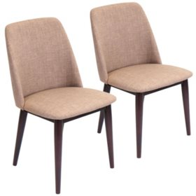 Tintori Mid-Century Dining Contemporary Chairs - Set of 2, Brown