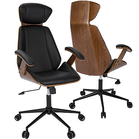 Spectre Mid Century Modern Adjustable Office Chair In Walnut Wood Assorted Colors