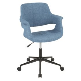 Vintage Flair Mid-Century Modern Office Chair in Black Metal Base (Assorted Colors)