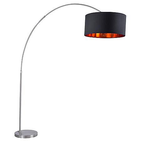 Salon Contemporary Floor Lamp with Satin Nickel Base and Black Shade with Copper Accent