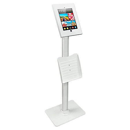 Mount-It! Universal iPad Anti-Theft Metal Enclosure Floor Stand (White)
