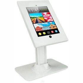 Mount-It! Universal iPad Anti-Theft Metal Enclosure Kiosk Desk Stand (White)